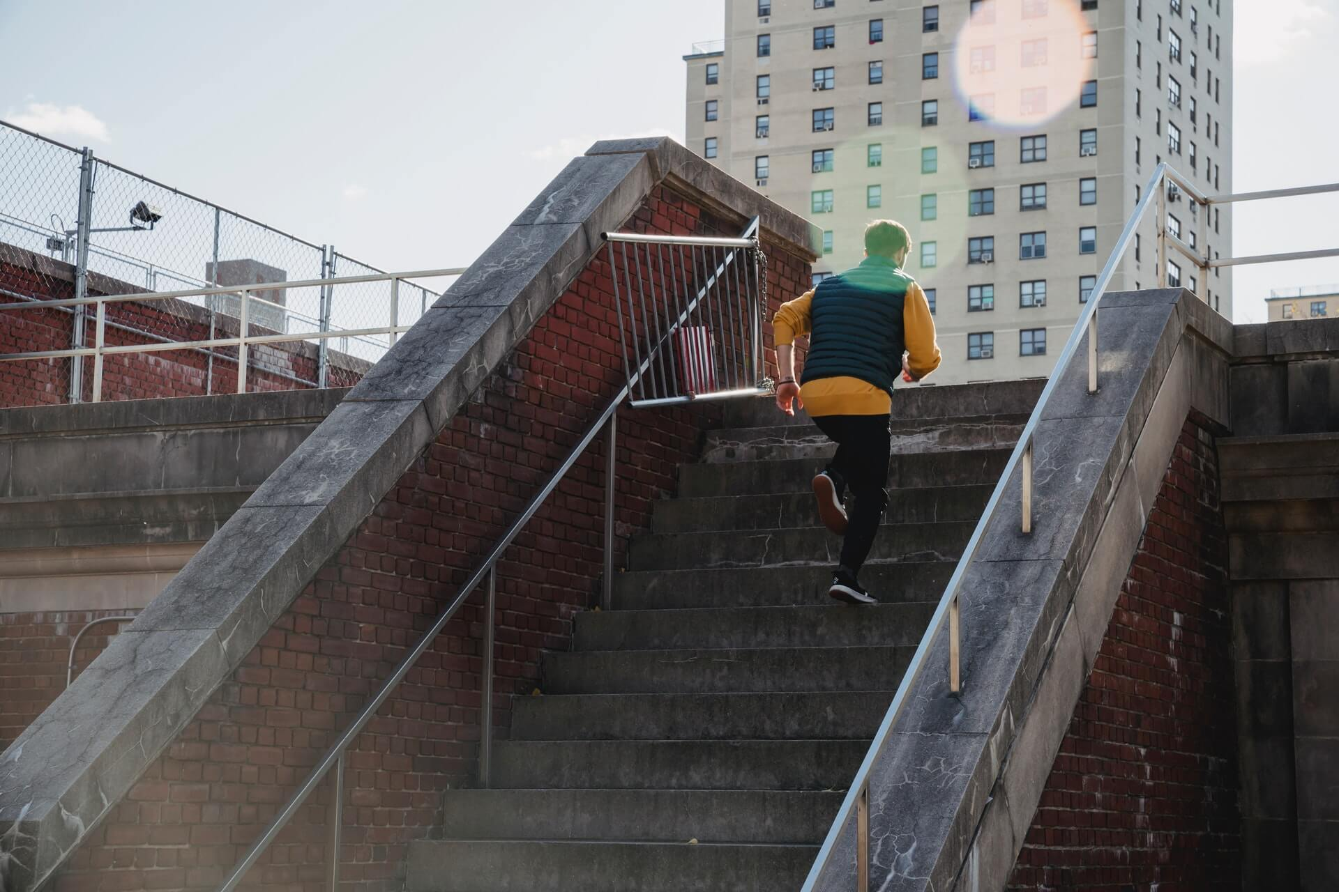 person running up stairs